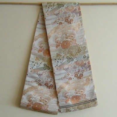 Antique Obi with Cranes & Pines
