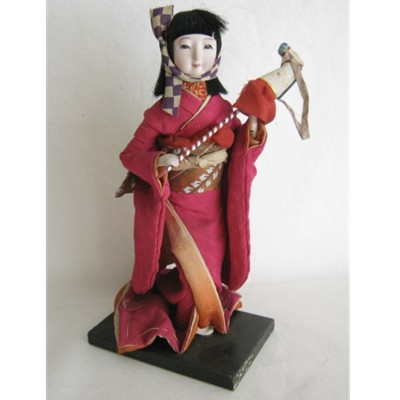 Antique Japanese Doll, Girl w/Stick Horse