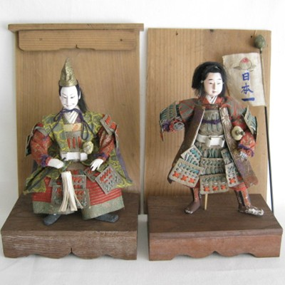 Antique Japanese Costume Dolls, Momotaro & Samurai