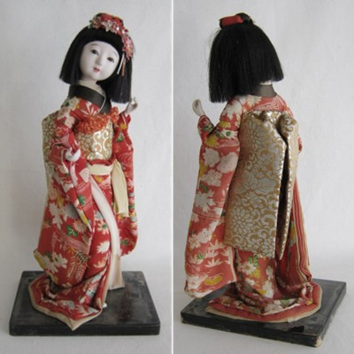 Antique Japanese Costume Doll, Young Lady, 11-5/8""