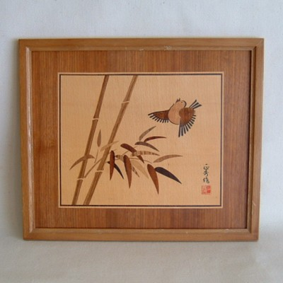 Inlaid Picture of Bird & Bamboo, Framed