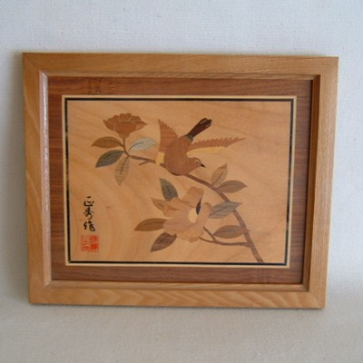 Inlaid Picture of a Bird and Flowers, Framed