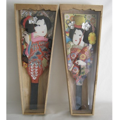 Vintage Pair of Japanese Hagoita Paddles w/CASES!!