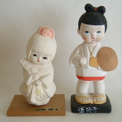 Clay or Pottery Japanese Dolls (2)