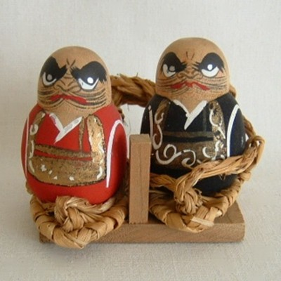 Daruma Japanese Wooden Kokeshi Pair on Waraji