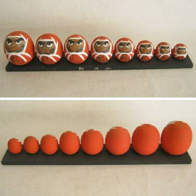 Descending Size Daruma Japanese Wood Dolls