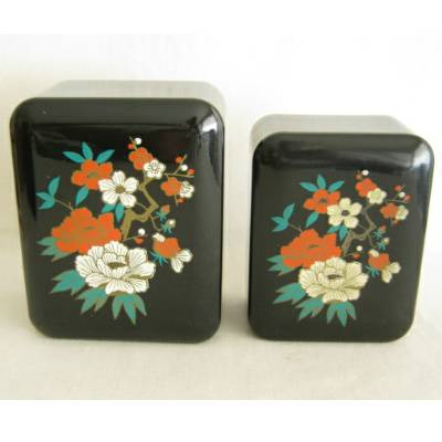 "Vintage Plastic ""Lacquerware"" Trinket Box, Lot of 2 (ls)"