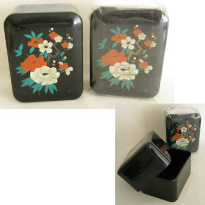 "Vintage Plastic ""Lacquerware"" Trinket Box, Lot of 2 (2b)"