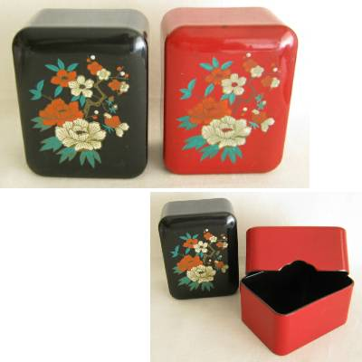 "Vintage Plastic ""Lacquerware"" Trinket Box, Lot of 2 (rb)"