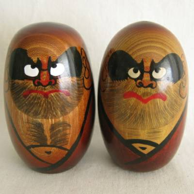 Daruma Folkcraft Doll Pair, 3-3/8""