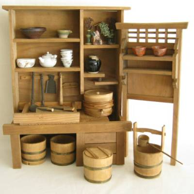 Antique Japanese Miniature Wood Kitchen