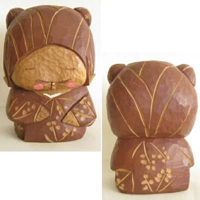 Carved Japanese Chibi Boy Bear