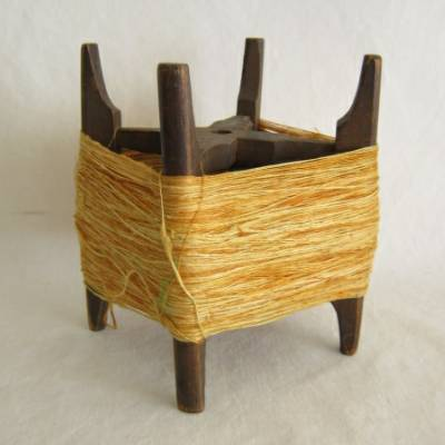 Wooden Thread Spool (Itomaki), w Yellow & Gold Silk