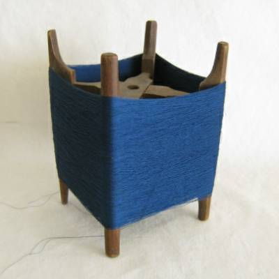 Wooden Thread Spool (Itomaki), w Blue Silk