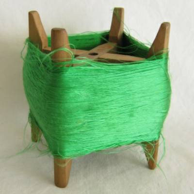 Wooden Thread Spool (Itomaki), w Green Silk