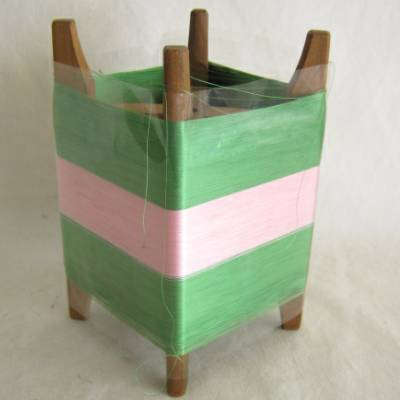 Wooden Thread Spool (Itomaki), w Green & Pink Silk, Mint
