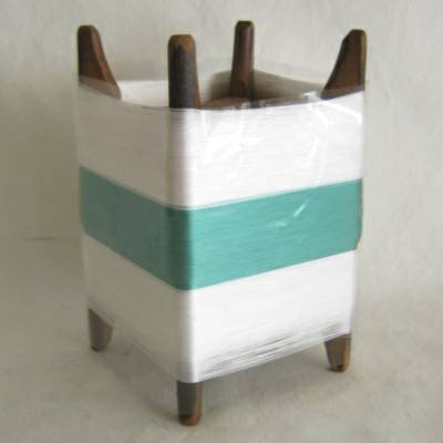 Wooden Thread Spool (Itomaki), w White & Green Silk, Mint