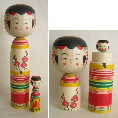 Yajiro Traditional Kokeshi, 2 Piece Nesting