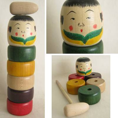 Yajiro Traditional Kokeshi Otoshi Toy