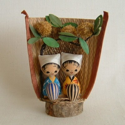 Creative Kokeshi, Pair of Sitting Girls