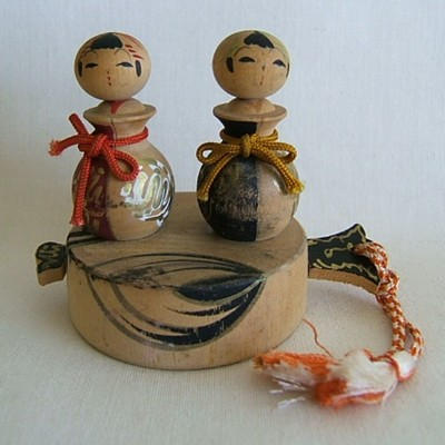 Creative Kokeshi Nodder Pair on Lucky Mallet