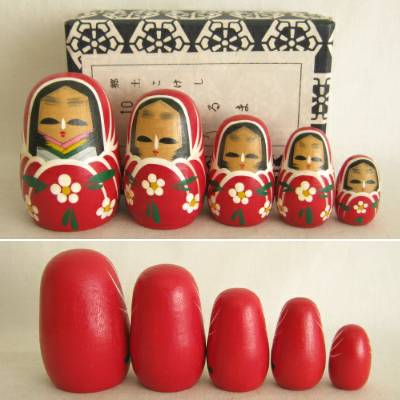 Princess Daruma (Hime) Dolls, Set of Five (5)