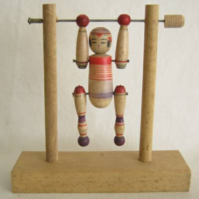 Yajiro Traditional Kokeshi on a Horizontal Bar, #2