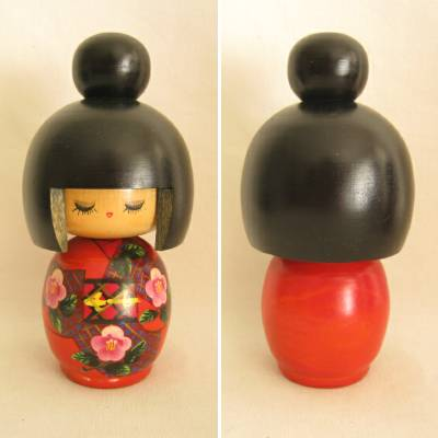 Modern Creative Kokeshi, Red, 6-1/8""