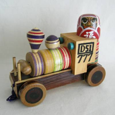 Yajiro Traditional Pull Toy Train w/Daruma Otoshi Game & Tops