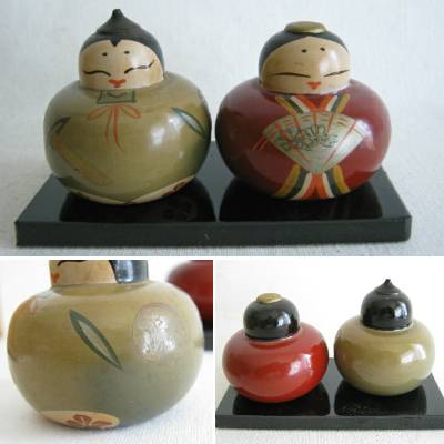 "Ouchi Lacquerware Doll Pair, 1-1/2"", Box"