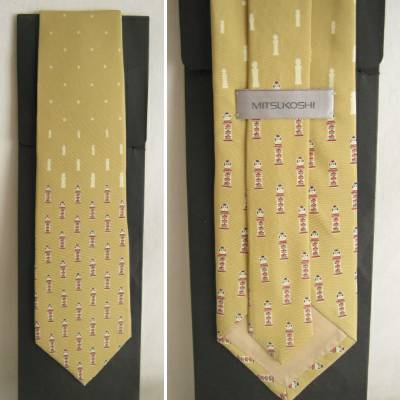Narugo Traditional Kokeshi Design Silk Tie