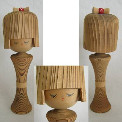 Modern Creative Kokeshi, Cryptomeria Wood, 7""