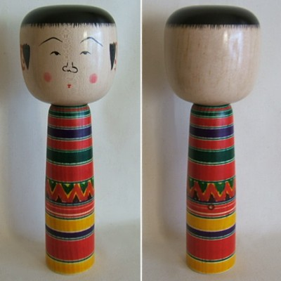 Sato Yajiro Traditional Japanese Kokeshi, Large Head, 10-3/4""