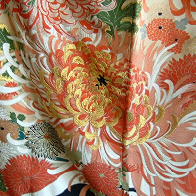 Japanese Antique Taisho Wedding Kimono, Cranes & Mums