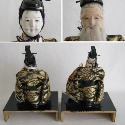 Antique Japanese Hina Doll Pair, Right & Left Minister