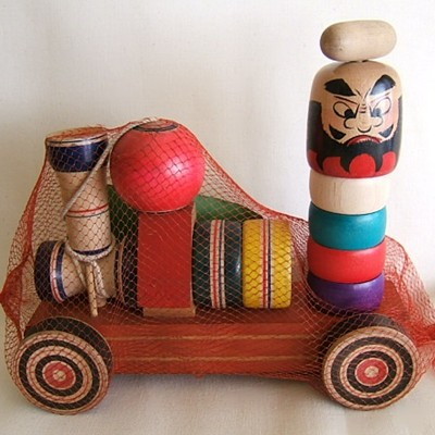 Yajiro Traditional Pull Toy Train w/Kendama & Daruma Otoshi Game