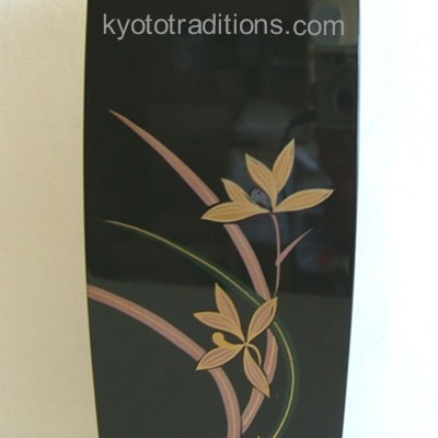 Lacquered Wood Japanese Vase, Orchids