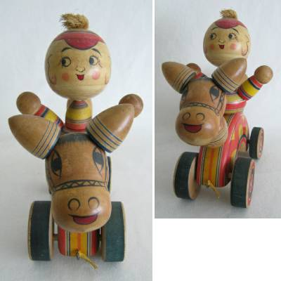 Yajiro Traditional Japanese Pull Toy, Boy on Horse