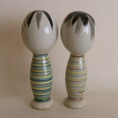 Kiyomizu Porcelain Striped Kokeshi Pair