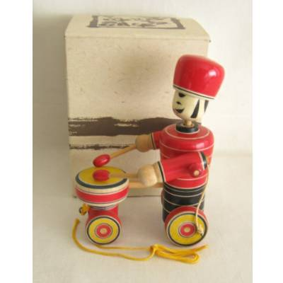 Traditional Japanese Drummer Pull Toy, NEW