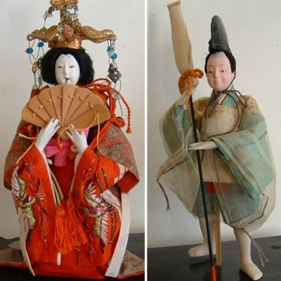 Antique Japanese Costume Dolls, Empress & Retainer