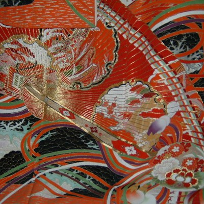Japanese Taisho Wedding Kimono with Fans