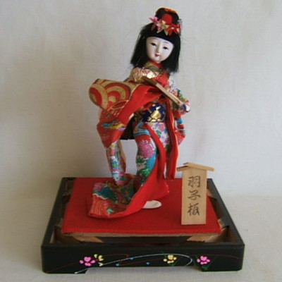 Vintage Japanese Costume Doll, Hagoita, Case