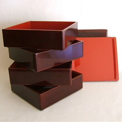 Antique Japanese Lacquered Jubako, 4 Boxes