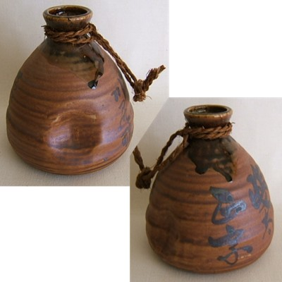 Japanese Old Ceramic Sake Jug/Bottle, w/Rope, Small