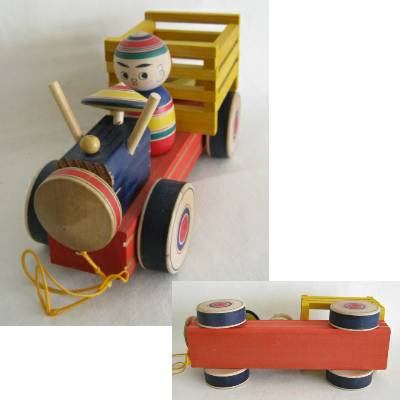 Yajiro Traditional Truck Pull Toy w/Tops