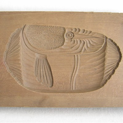 Kashigata, Japanese Sweet Cake Mold w/Cover, Fish
