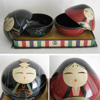 Ouchi Lacquerware Plastic Trinket Box Doll Pair
