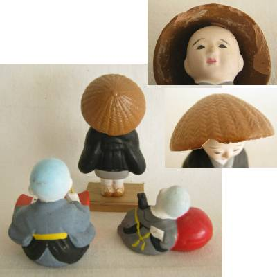Clay Monk & Kobouzu (Monk Apprentice), Lot of 3
