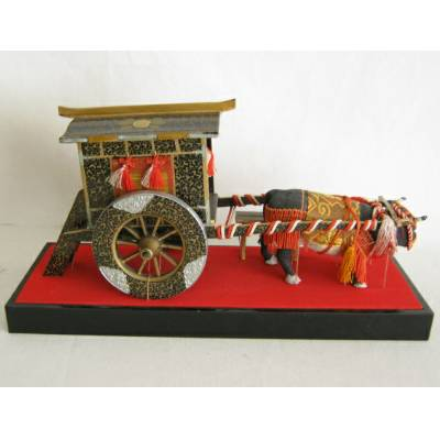 Antique Japanese Hina Doll Accessory, Ox Cart